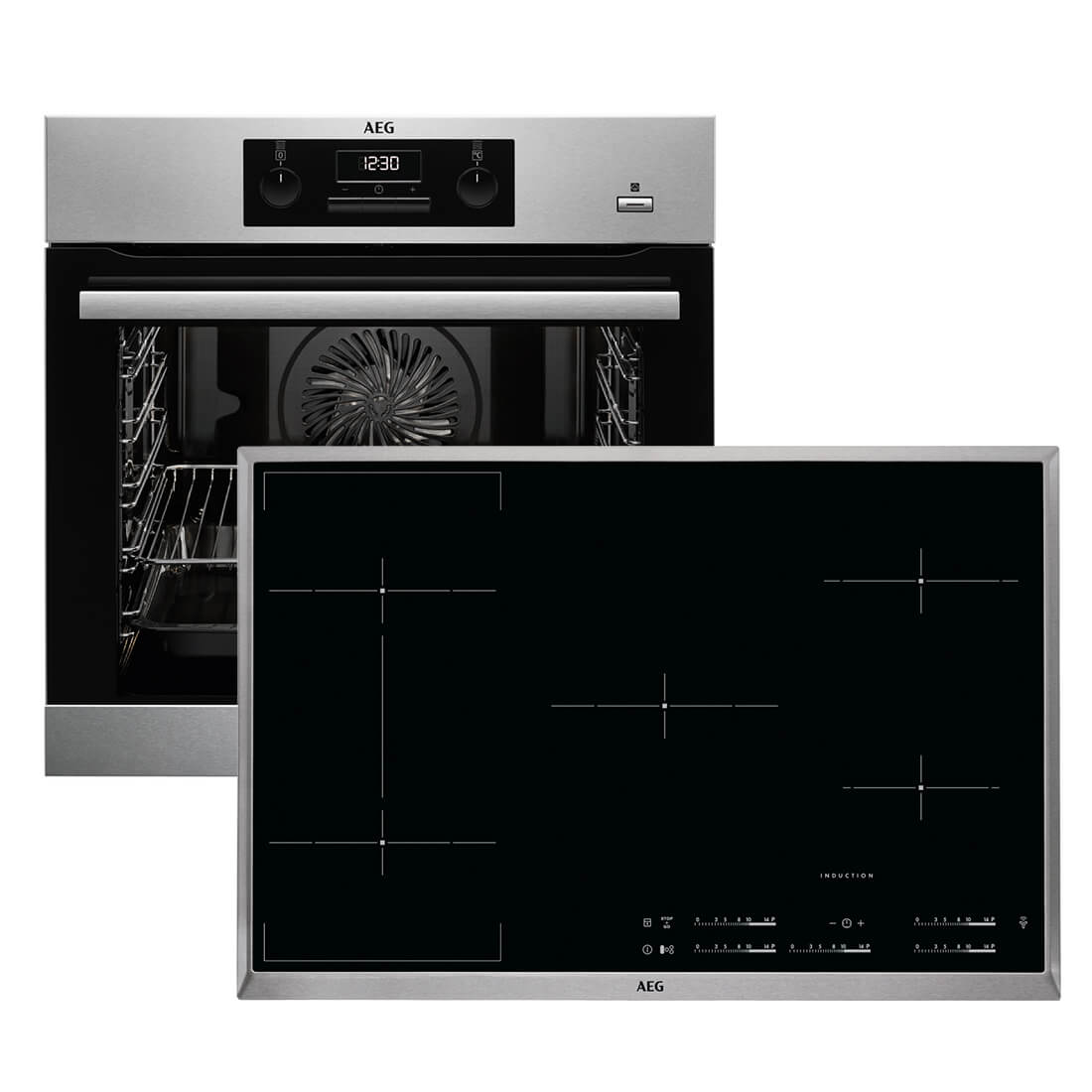 aeg beb357 backofen set beb351010m backofen hkl85510x b autark induktions ko ebay. Black Bedroom Furniture Sets. Home Design Ideas