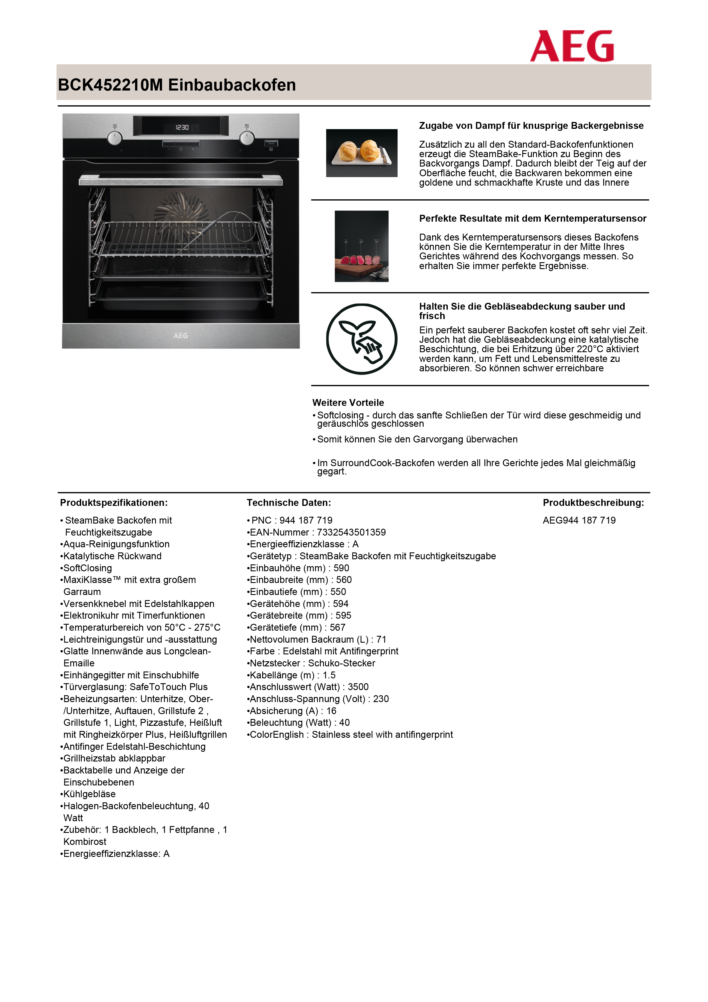 AEG BCK455 Backofen Set BCK M Backofen HKM X